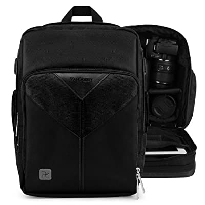 VanGoddy Sparta Backpack - JET BLACK Compact DSLR Camera and Tablet Case Bag fits Canon EOS 1D X, 1D Mark 4 IV , 3 III , 2 II