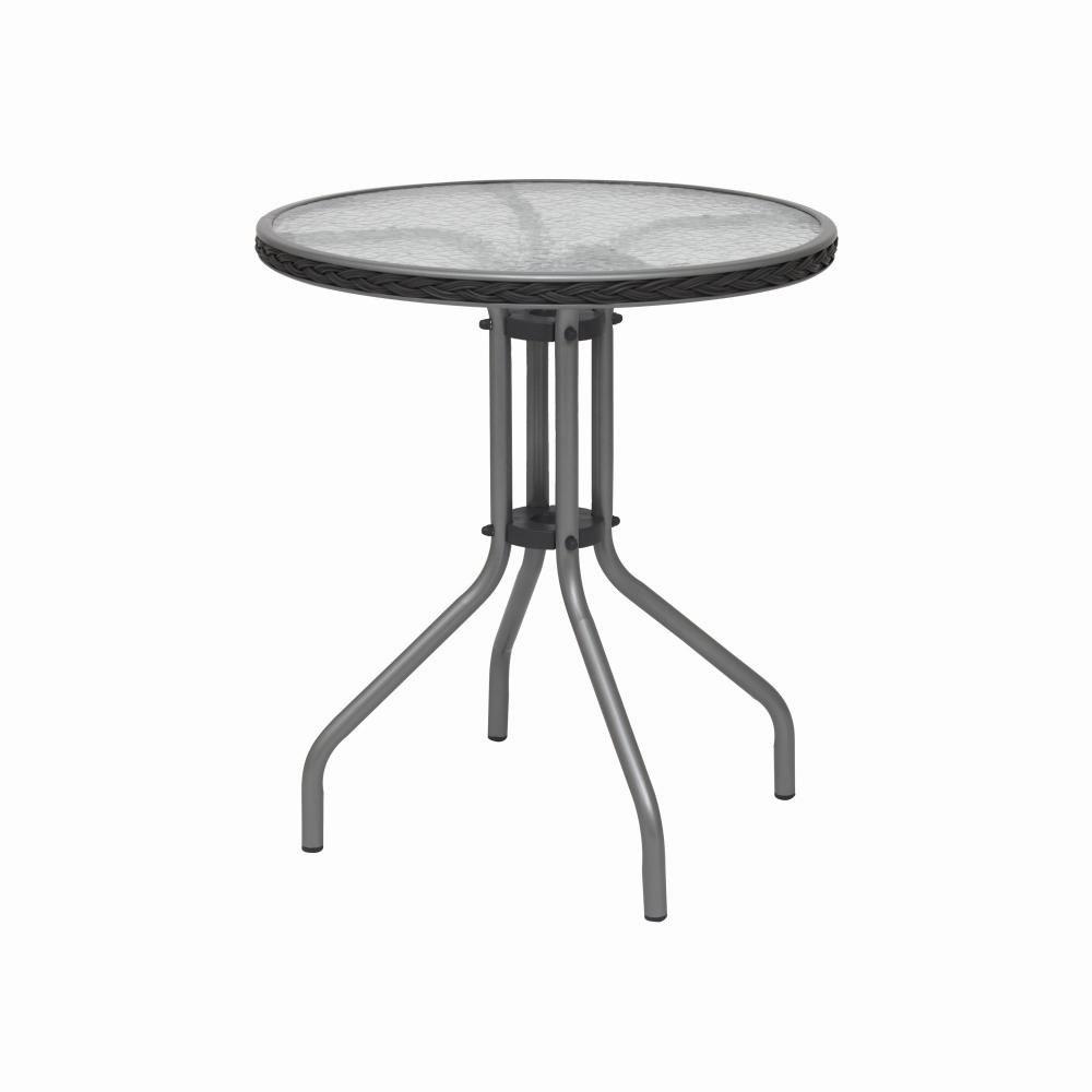 H.G. 217571 Tisch Sevillia, Tischplatte Glas, Durchmesser 60 cm, Stahl-Gestell Kunststoffgeflecht grau
