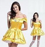 【N.STYLE】ディズニー プリンセス 美女と野獣 ベル ミニ ドレス 大人用 155cm-170cm かわいい 仮装 衣装