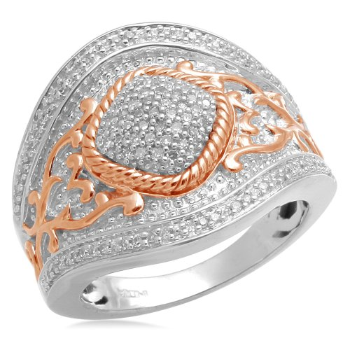 Jewelili 18k Rose Gold Plated Sterling Silver Diamond Ring (1/4 Cttw, IJ Colour, I2/I3 Clarity), Size 7