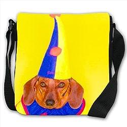 Dachshund Dog In Clown Jester Costume Small Black Canvas Shoulder Bag / Handbag from Snuggle