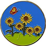 Butterfly and Sunflowers Flower and Garden Golf Ball Marker and Matching Hat Clip