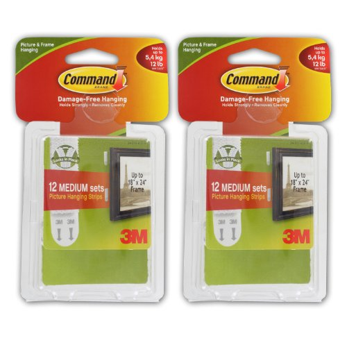 3M Command Medium Picture Hanging Strips, White - Pack Of 24 front-374120