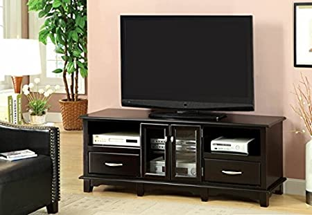 Bomont contemporary style espresso finish wood entertainment center TV stand console