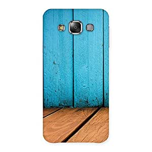 Wood Cyan Back Case Cover for Galaxy E7