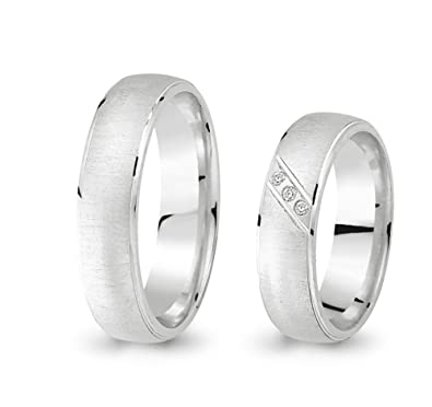 2 Wedding Rings Engagement Rings 585 Gold and White Gold Cubic Zirconia CC0415851