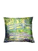 ARTE E TESSUTI by MANIFATTURE COTONIERE Cojín Con Relleno Extraíble Monet - Ponte Giapponese Verde/Multicolor