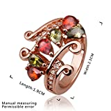 DUMAN 18ct Rose Gold Plated Red and Aquamarine Swarovski Elements Crystal Crown Ring, Size Q