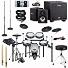 Roland TD-30K V-Pro Series Electronic Drum Kit Package - Roland CM220 Personal Monitor, Samson MS200 Stand, Tama HP300tw HH35s HT35w Drum Hardware, Boss FS6 Dual Channel Footswitch, Vic Firth Nova 5a Drum Sticks, and additional audio cables