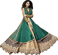 Orange Fab Women's Silk Lehenga Choli (OF115-Karma-7020G_Green and Gold_42)