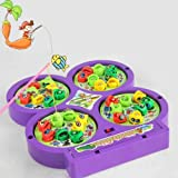 AndAlso Fish Catching Game Rotating Pong With Magnetic Catching Stick For Kids (Assorted Color)