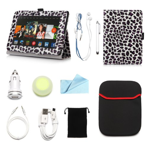 """Arion Kindle 10-Item Accessory Bundle Kit For Amazon Kindle Fire Hd 7"""" Tablet - Folio Stand Pu Leather Case, Cleaning Cloth, Stylus Pen,Car Charger,Usb Cable, Aux Cable, Earphone, Wire-Holding Box, Sleeve Case, Drawstring Travel Pouch (Purple Leopard, Lea"""