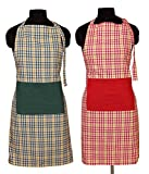 Home Colors Multicolor Checks Cotton Apron (Buy 1 Get 1 Free)