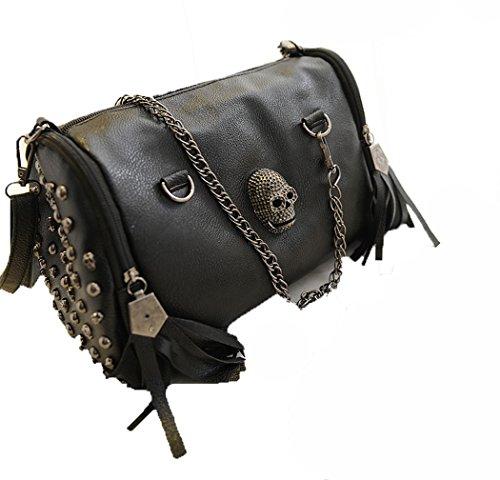 IMaySon Women Lady Black Skull Handbag Shoulder PU Leather Hobo Sling Bag