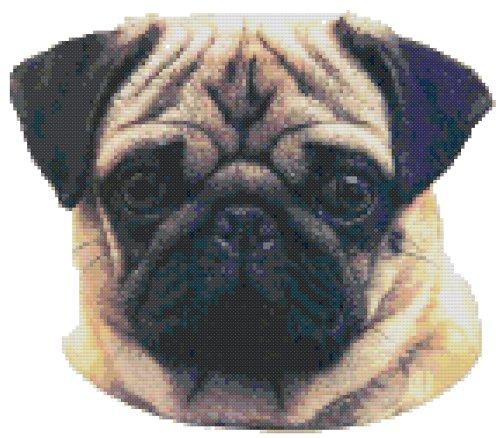 Pug Dog Portrait Counted Cross Stitch Pattern Elizabeth