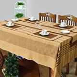 Cotton Woven Table Cover, Runner and Placemat Set for 6 Seater Table - Set of 8 - Brown