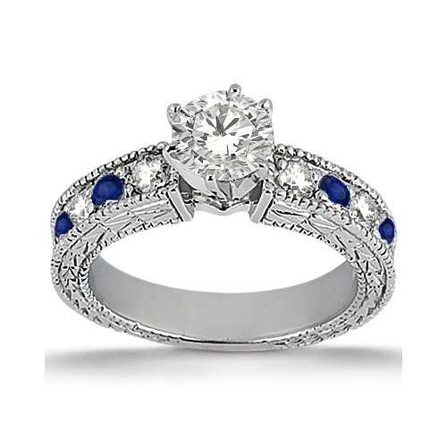 Antique Genuine Diamond Engagement Ring With Sapphires Blue Milgrain 14K White Gold (0.75Ct) Gh/Vs