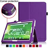 [Corner Protection] Fintie Matricom G-Tab 10.1 Folio Case - Premium PU Leather Cover with Stylus Holder for Matricom G-Tab Quantum / Matricom G-Tab Iota 10.1-Inch Android Tablet - Violet