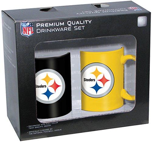Nfl Pittsburgh Steelers Ceramic Mug Set (2-Piece), 11-Ounce, Clear
