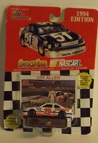 1994 NASCAR Racing Champions . . . Loy Allen #19 Hooters Ford Thunderbird 1/64 Diecast . . . Includes Collector's Card & Display Stand