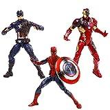 シビル・ウォー/キャプテン・アメリカ ハズブロレジェンド キャプテン・アメリカ&スパイダーマン&アイアンマン・マーク46 高さ6インチ プラスチック製 塗装済みアクションフィギュアセット