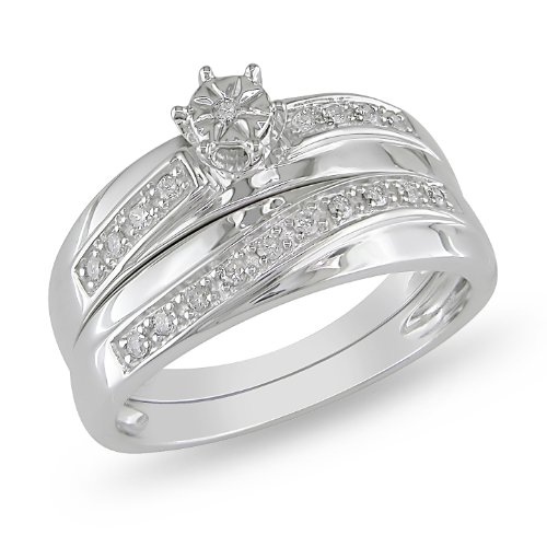 10K White Gold 1/6 CT TDW Diamond Bridal Set Ring (G-H, I2-I3)