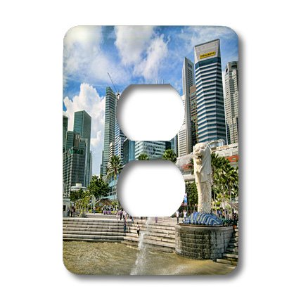 Lsp_71147_6 Danita Delimont - City Skylines - City Skyline, Fullerton, Clarke Quay, Singapore-As32 Bba0041 - Bill Bachmann - Light Switch Covers - 2 Plug Outlet Cover