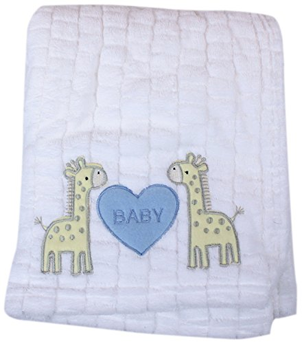 My Baby Giraffe Design Plush Blanket, White With Blue Heart front-290365