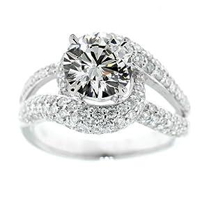 2.40 CARAT NATURAL DIAMOND ENGAGEMENT RING F SI1 18K WHITE GOLD