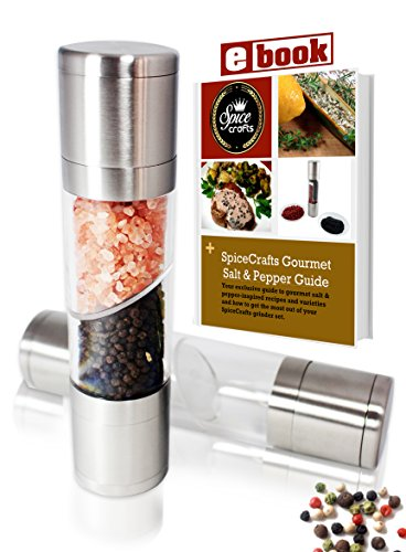 The Original SpiceCrafts Salt and Pepper Grinder Set, Stainless Steel Kitchen Tool, FREE Recipe eBook & Guide, Pure Ceramic, Dual Mill, Beautiful Centerpiece and cooking utensil