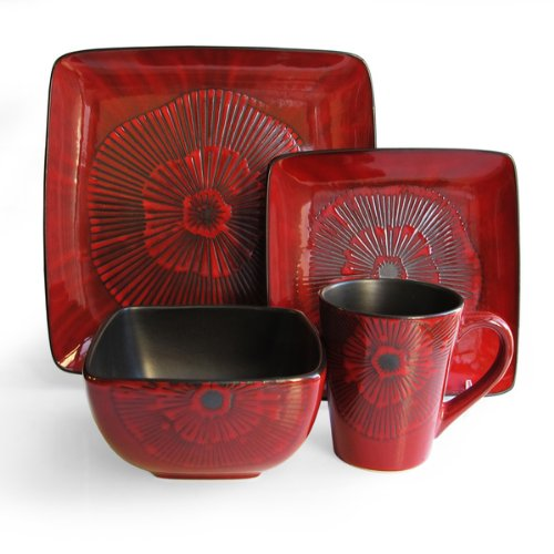 Laurette Square Reactive 16-Piece Dinnerware Set, Red