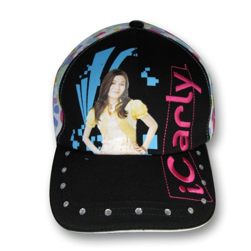 iCarly Girls Black Baseball Cap Hat with Rhinestone Trim