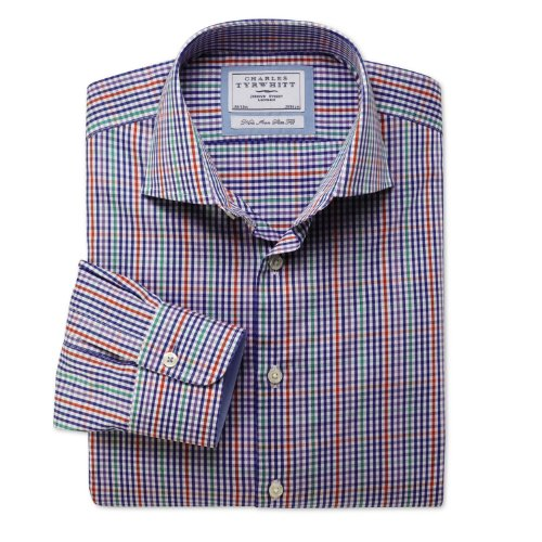 Charles Tyrwhitt Royal multi gingham check non-iron business casual slim fit shirt (17 - 37)