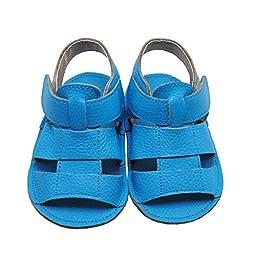 Mejale Baby Soft Soled Leather Moccasins Anti-slip Infant Walker Sandals,blue,12-18 months