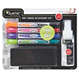 Quartet 2 in 1 Marker Starter Kit, 4 Double-Ended Fine Tip Dry-Erase Markers with Eraser and Cleaner, Assorted Colors (32112)