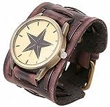 SCREW DRIVE 腕 時計 ビック ワイド フェイクレザー ブレス レット レトロ パンク ロック 茶