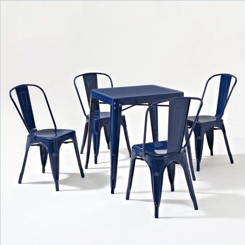 Amelia Five Piece Metal Cafe Dining Set Table Chairs In Blue - Metal cafe table and chairs