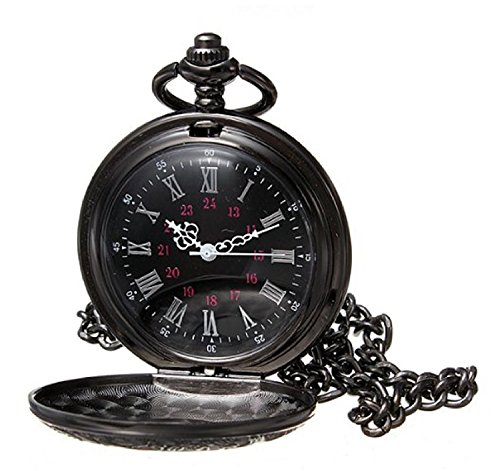 HJIAN Pocket Watch Black Roman Retro Vintage Quartz Pocket Watch Roman Numerals Steampunk Fob Watch 0