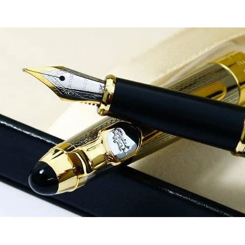 Jinhao 165 Silvery Mirror Carved Gold Nib Fountain Pen