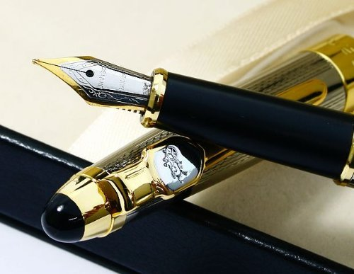 Jinhao 165 Silvery Mirror Carved Gold Nib Fountain Pen 0