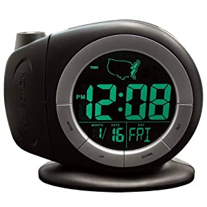 Elgin Electric LCD Projection Alarm Clock With Time Ready Technology, Black
