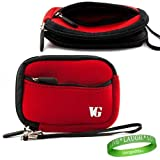Durable and Elegant Neoprene Digital Camera Sleeve Case for your Nikon COOLPIX L Series Red , interior lined with double padding preventing damages + Green Vangoddy Bracelet