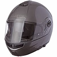 LS2 Helmets Strobe Solid Modular Motorcycle Helmet with Sunshield (Gunmetal, Large) by LS2 Helmets