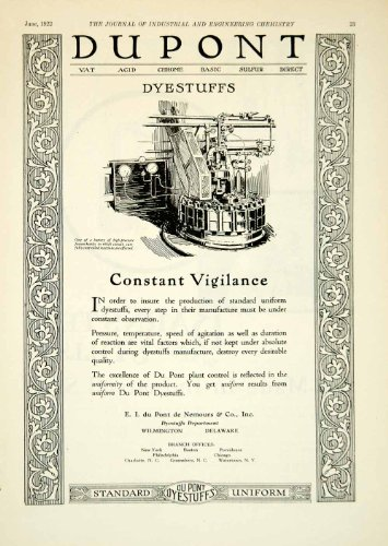 1922 Ad Ei Dupont Nemours Dyestuffs Industrial Fusion Kettle Machinery Factory - Original Print Ad