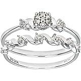 Ensemble Bague de fiançailles et alliance Femme - PR09815W-L -  Or Blanc 375/1000 (9 Cts) 2.5 Gr - Diamant