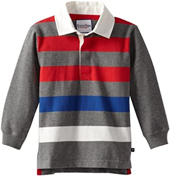 Kitestrings Little Boys' Little Multi Color Stripe Jersey Long Sleeve Rugby Polo, Grey Multi, 4