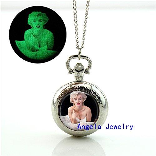 Pretty Lee Fashion Marilyn Monroe Glowing Pocket Watch Necklace Movie Star Jewelry Glow in The Dark Pendant