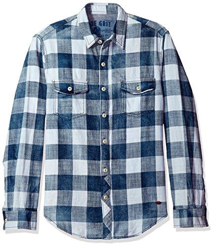 True Grit Men's Rockin Roll Indigos Buffalo Plaid Two-Pocket Vintage Shirt 0
