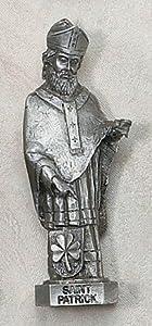 "Genuine Pewter St. Patrick Statue Religious Patron Saint St. Figurine 2-1/2 X 3"" Inches Tall Patron Saint St. Icon Relic New Figure Gift"