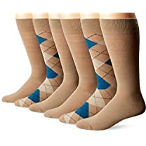 Fruit Of The Loom Men's 6 Pack Argyle Crew Socks